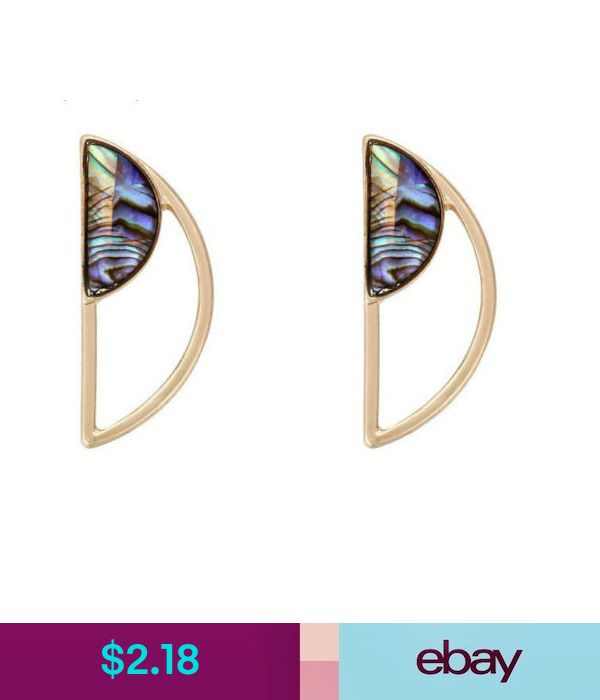 Gold Plated Semicircle Shell Stud Earrings EH0955