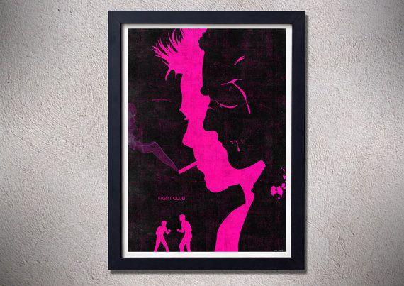 Fight club poster print brad pitt art movie poster by TotalLost, $13.00