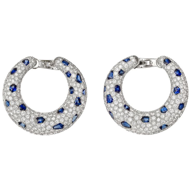 Cartier Panthére Diamond & Sapphire Hoop Earrings: Diamonds Earrings, Sapphire Hoop, Cartier Panthér, Panthers Diamonds, Hoop Earrings, Cartier Earrings, Panthér Diamonds, Brilliant Cut Diamonds, Jewelry Earrings