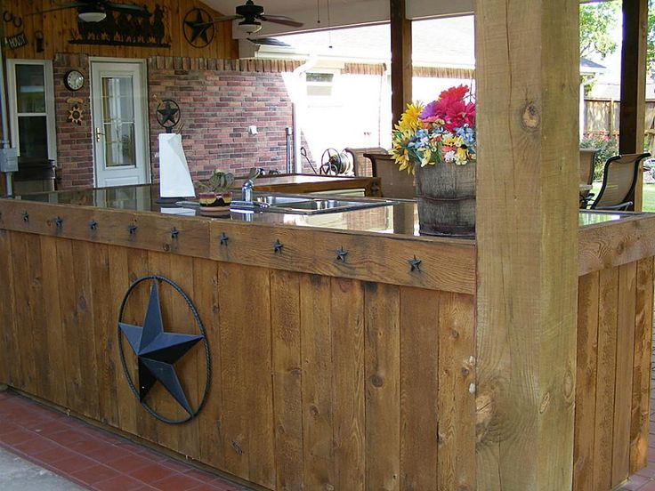Rustic Western Texas Themed Covered Patio Outdoors
