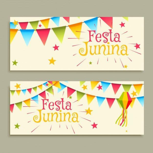 Festa junina celebration banners Free Vector