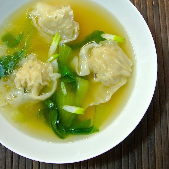 Chicken wonton soup is a quick, delicious, complete meal that can be ready in minutes (once all your dumplings are made) and is healthy too. Napa cabbage is traditional in wonton soup, but I like to use bok choy because it gets greener when it cooks which makes this soup very eye-catching and bright.