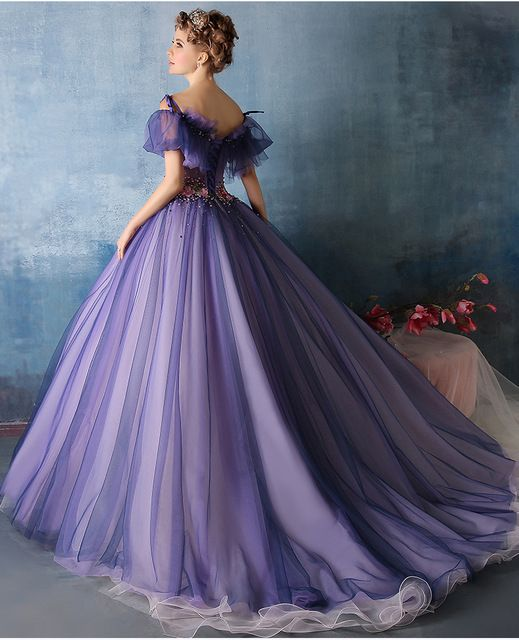 100%real purple flower beading waist ruffle Medieval Renaissance gown Sissi princess dress Victorian dress/Marie/ Belle Ball