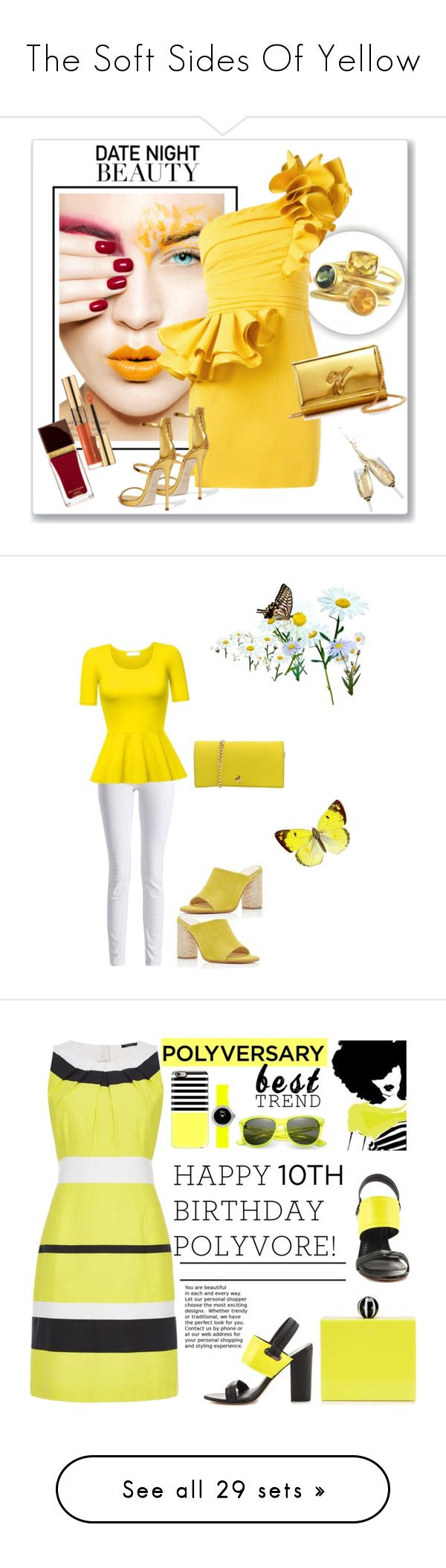 """The Soft Sides Of Yellow"" by kimberlydalessandro ❤ liked on Polyvore featuring Dsquared2, Giuseppe Zanotti, Yves Saint Laurent, Tom Ford, Barbour International, La Fille Des Fleurs, Paloma Barceló, Circus by Sam Edelman, Casetify and Christian Dior"