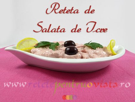 Reteta de salata de icre este un aperitiv ideal pentru mesele festive, putand fi servita cu paine prajita, masline si legume proaspete.