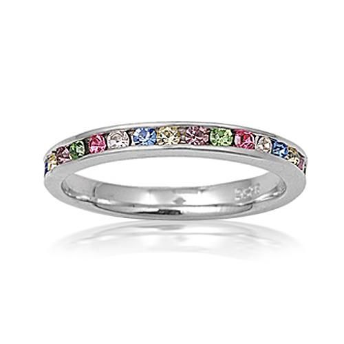 Sterling Silver Multi Color Rainbow CZ Eternity Band Ring Stackable