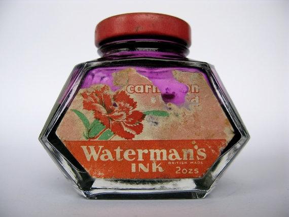 Vintage Waterman's Ink Carnation Red 2 oz British Made by Inklinks, £20.50