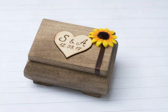 Wedding Ring Box Sunflower Ring Holder Pillow by HappyWeddingArt