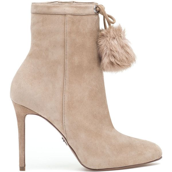 MICHAEL MICHAEL KORS Remi Bootie Light Khaki Suede ($225) ❤ liked on Polyvore featuring shoes, boots, ankle booties, ankle boots, suede bootie, suede ankle boots, high heel boots, stiletto boots and short boots