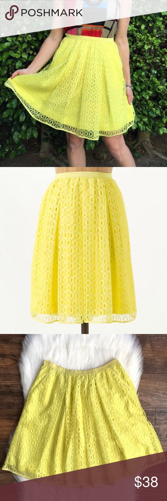 """Anthropologie Maeve Lawn Party Skirt 2 Neon Yellow Waist: 13"""" Length: 20.5""""  Side pockets; Lined  Condition: No Rips; Small stain on the front  100% Polyester   📦Orders are shipped within 24hrs! {Except weekends}📦  🚫No Trades🚫No Holds🚫 Anthropologie Skirts A-Line or Full"""
