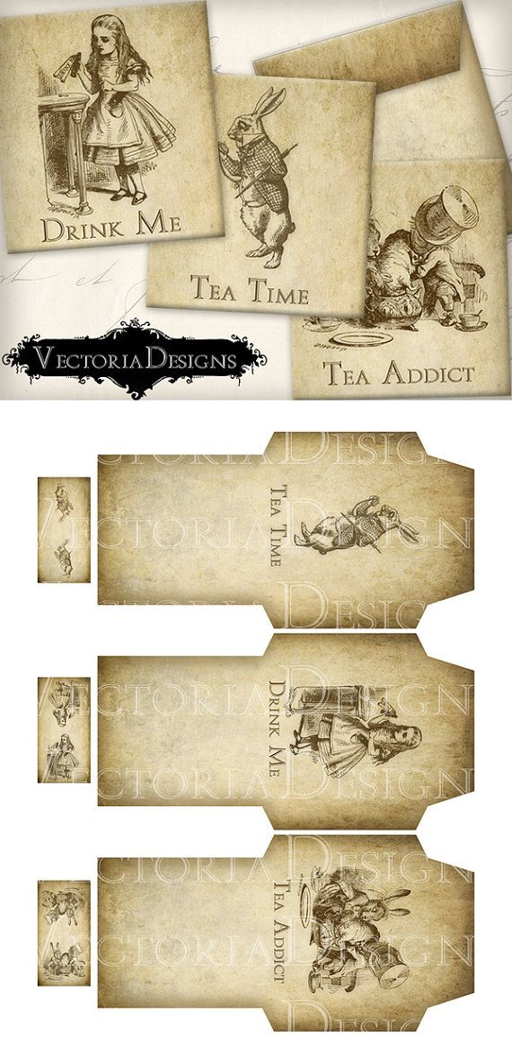 Printable Alice in Wonderland Tea Bag Holder envelope printable hobby crafting scrapbooking instant download digital collage sheet - VD0350