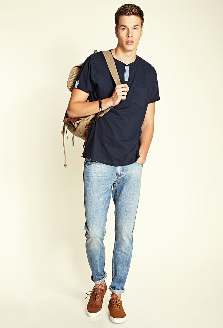 Chambray-Trim Pocket Tee | 21 MEN #21Men - http://AmericasMall.com/categories/juniors-teens.html