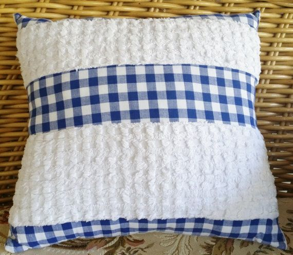 Check out this item in my Etsy shop https://www.etsy.com/au/listing/501862232/vintage-white-chenille-and-blue-gingham