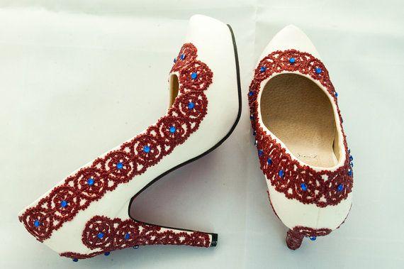 CUSTOM ORDER Russia Folk Inspired High Heels red by laPupaHuman