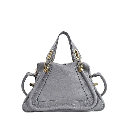 This grey double carried bag with two handles was designed by the must-have designer CHLOE. It is constructed with grained calfskin and is lined in cotton. This handbag features a zip closure, one zippered pocket and one plated pocket on the inside.