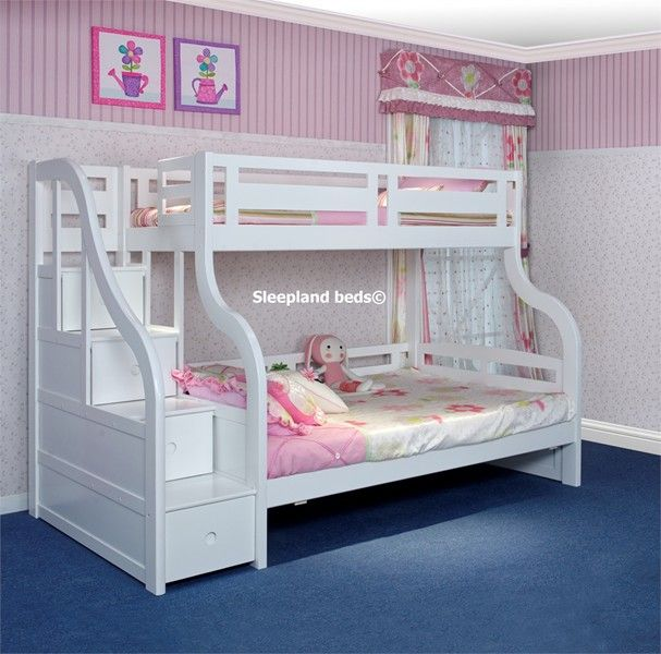 Luxury Carved Solid Wood White Triple Bunk Bed with Staircase