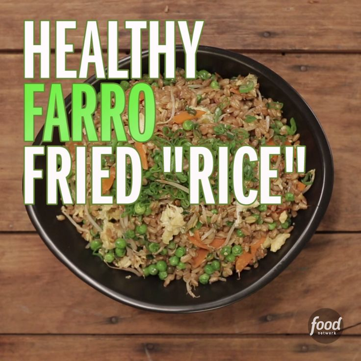 """Farro is an Italian variety of wheat with grains that turn tender and toothsome with cooking. It's often added to soups and risotto but works as a terrific substitute for rice in this easy stir-fry. Try this easy and healthy farro fried """"rice"""" recipe!"""