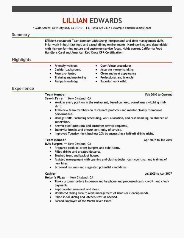 Fast Food Worker Resume Fresh Fast Food Resume Wording Resume Template In 2020 Job Resume Samples Resume Examples Customer Service Resume Examples