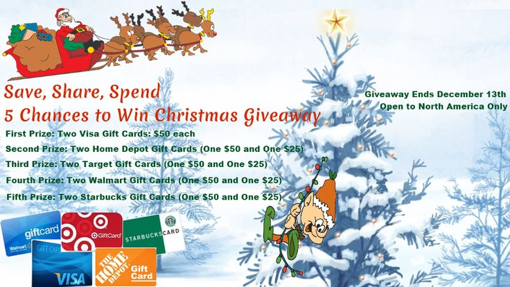 Save, Share, Spend – 5 Chances to Win #Christmas #giveaway