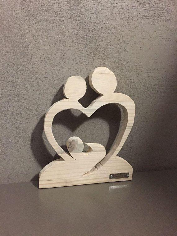 Futura Nascita - Cuore in legno - Mamma papà e bebè