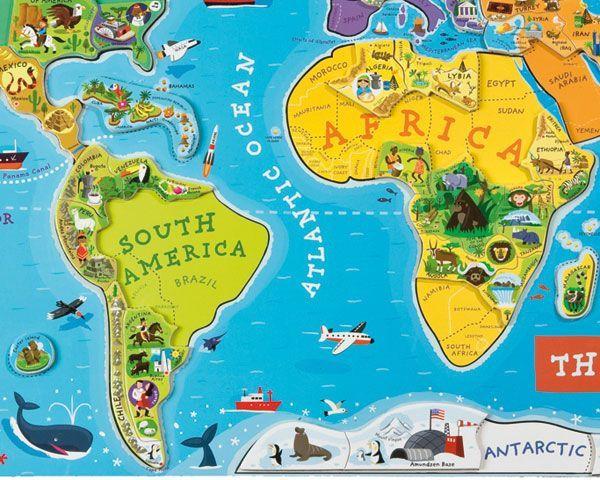 Vie Vaše dieťa, kde leží Madagaskar? Na ktorom póle žijú tučniaky? Odkiaľ a kam vedie Transibírska magistrála? Kde ste boli minulý rok na dovolenke?  Chcete aby sa mu aj ďalšie zemepisné pojmy navždy vryli do pamäti? Zaobstarajte mu veľkú mapu sveta s množstvom zaujímavých detailov a naučte ho zemepis hravou formou!  Krásna magnetická mapa sveta obsahuje 92 drevených dielikov puzzle, kde každý z nich reprezentuje región alebo krajinu, nesie názov hlavného mesta a obsahuje obrázok…