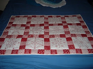 Red White Embroidery Quilt