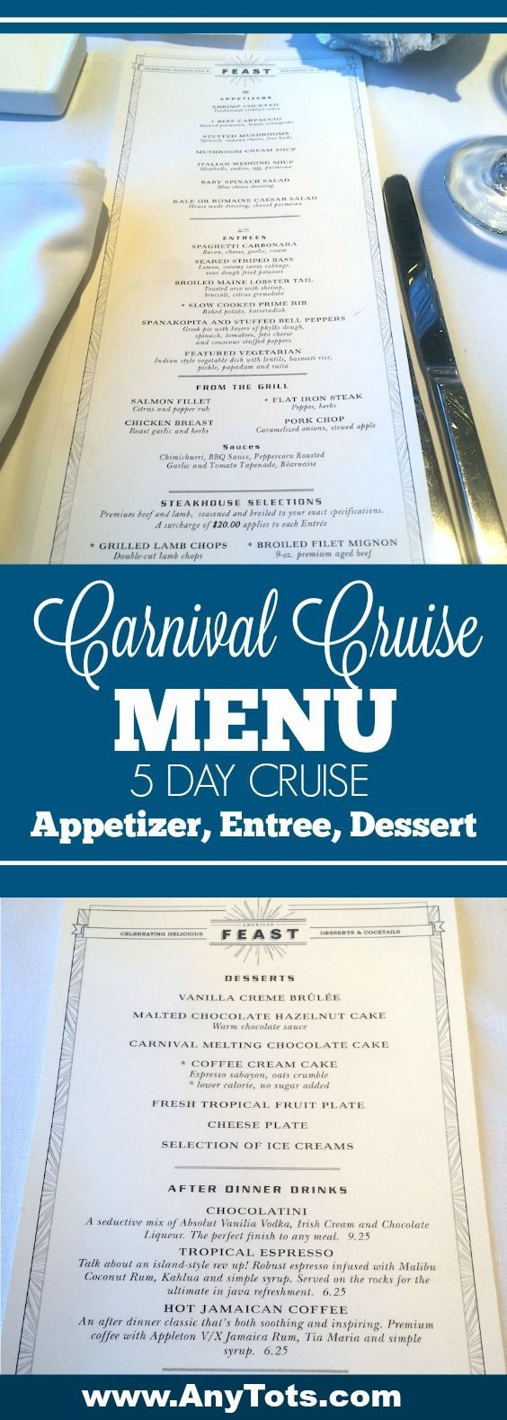 Check out all the Carnival Cruise Food including all the yummy appetizers you can order during the sit down dinner. This is from a 5 day cruise with Carnival. We've posted the Carnival Cruise Menu so you can check if anything fits your diet or liking. Visit www.anytots.com for more cruise tips.