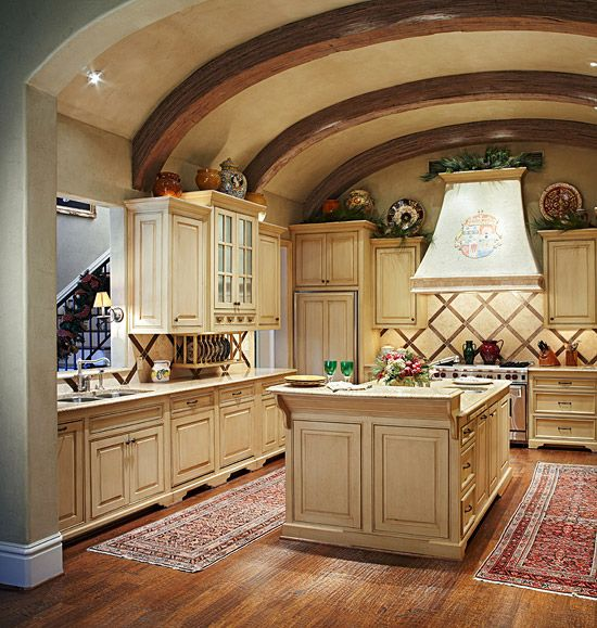 Open Concept French Country Kitchen Home Design Ideas: With Its Beamed And Barrel