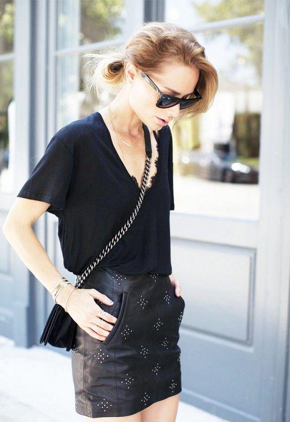 Anine Bing Street Style Leather Skirt