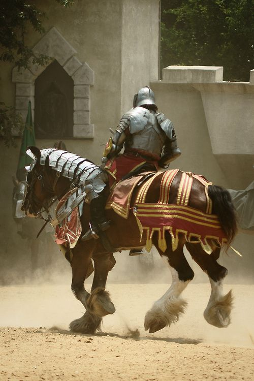 Scarborough Tournament by Kevin Barrett, bay horse, knight, lance, jousting, armor