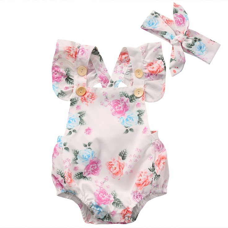Floral Baby Romper Clothes Set 2017 Summer Newborn Baby Girl Ruffled Sleeve Bodysuit Jumpsuit + Headband 2pcs Outfit Sunsuit