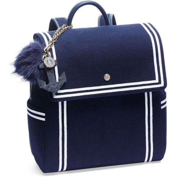Tommyxgigi Nautical Backpack ($175) ❤ liked on Polyvore featuring bags, backpacks, navy, nautical backpack, blue bag, mini bag, day pack backpack and navy blue backpack