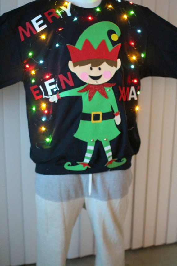 Details About New Ugly Christmas Sweater Men Funny Merry Elfin Xmas