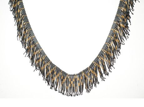 Fringe neckpiece by Joanna Campbell  (Oxidised sterling silver, gold plated silver)