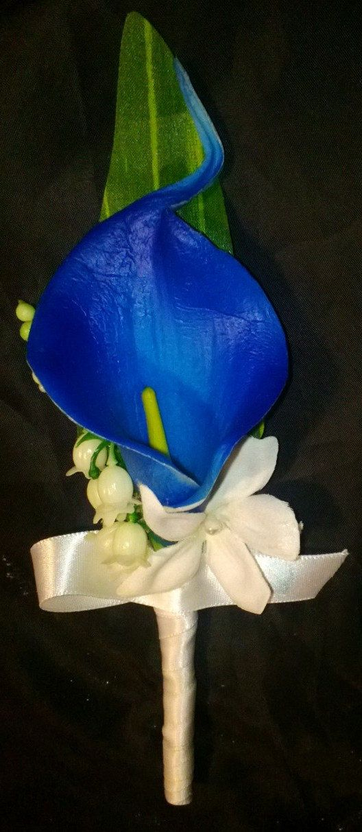 real touch royal blue calla lily boutonniere royal blue boutonniere horizon blue boutonniere. Black Bedroom Furniture Sets. Home Design Ideas