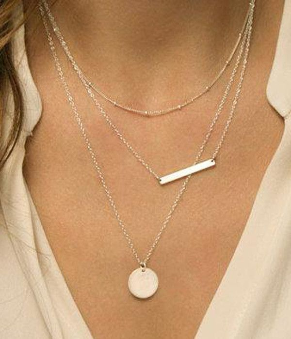 Triple Layered Silver Bar and Disc Necklace                              …