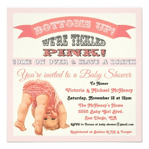 Bottomu0027s Up Vintage Baby Girl Shower Invitations