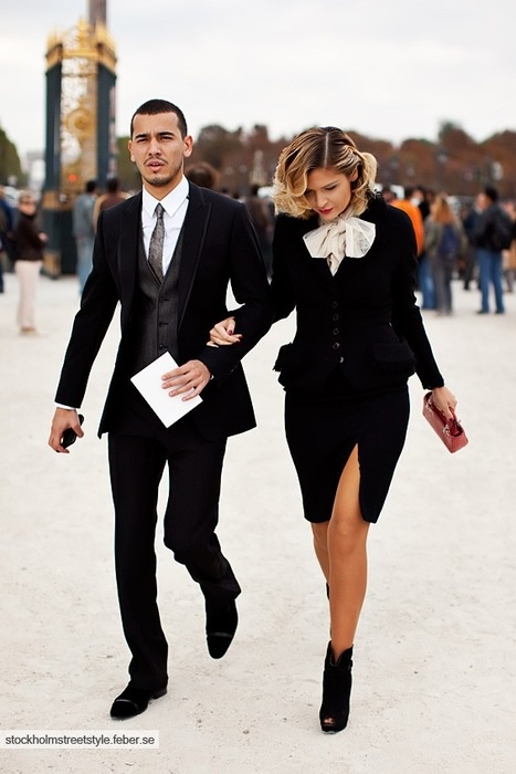 Classy couple during Paris fashion week.