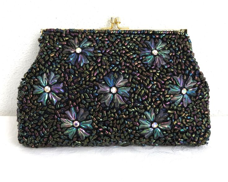 Vintage hand beaded clutch bag with large iridescent multicolored beads in pattern of flowers with aurora borealis rhinestone centers by CardCurios on Etsy