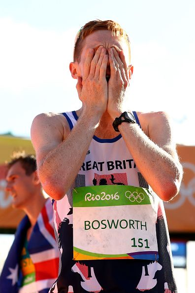 Tom Bosworth of Great Britain reacts after placing sixth in the Men's 20km Race…