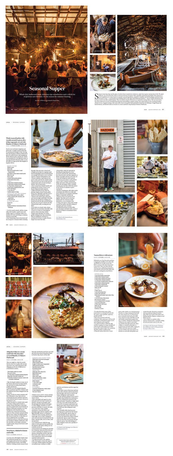 Seasonal Suppers feature in Taste magazine