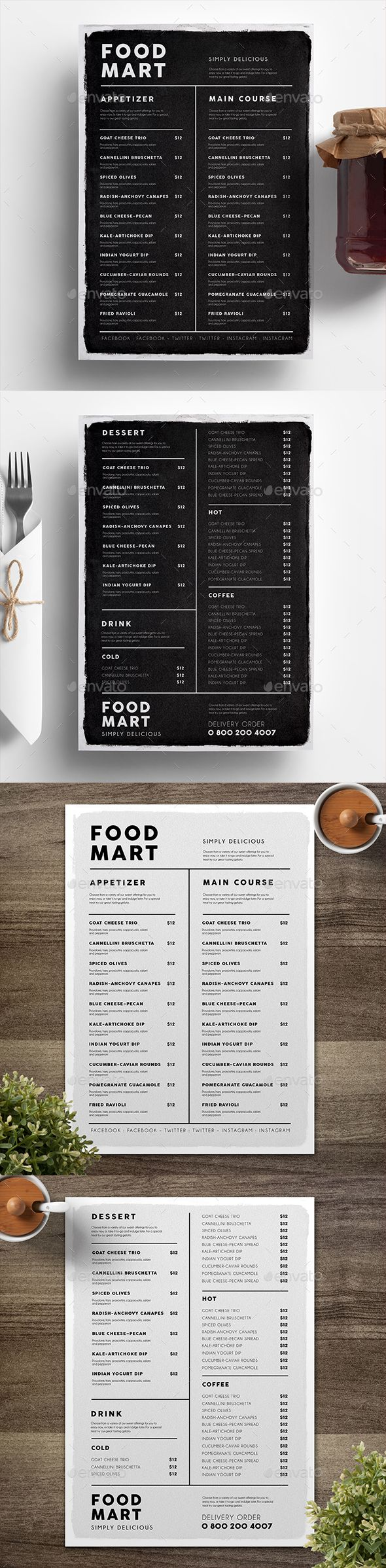 Simple Black & White Menu — Photoshop PSD #modern #colorful • Download ➝ https://graphicriver.net/item/simple-black-amp-white-menu/19224925?ref=pxcr