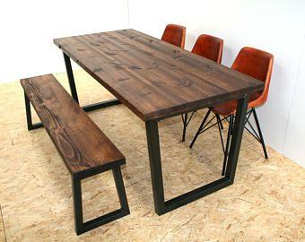 Brinkley Rustic Industrial Reclaimed Wood Dining Table Metal U Frame  Various Size UK Made Dark Brown