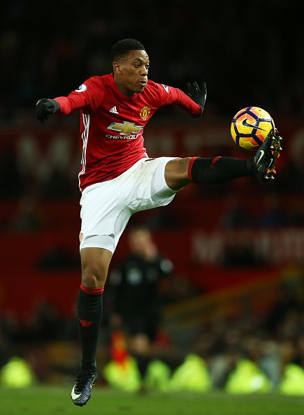 Anthony Martial of Manchester United controls the ball during the Premier League match between Manchester United and Sunderland at Old Trafford on...