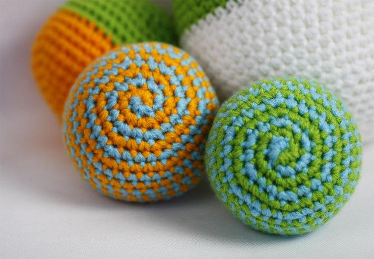 Handmade spiral crochet balls. Fun toys for baby!