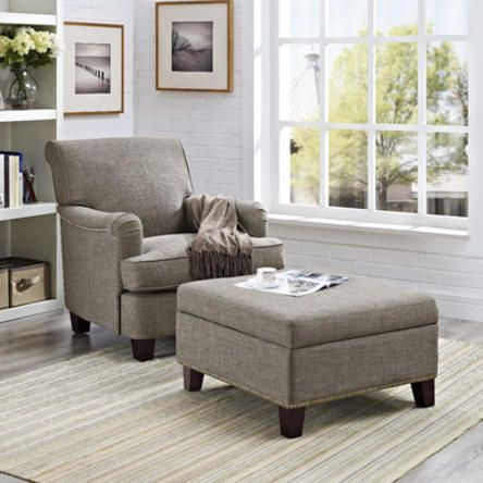 Grayson Linen Rolled Top Club Chair With Nailheads With Square Ottoman, Gray