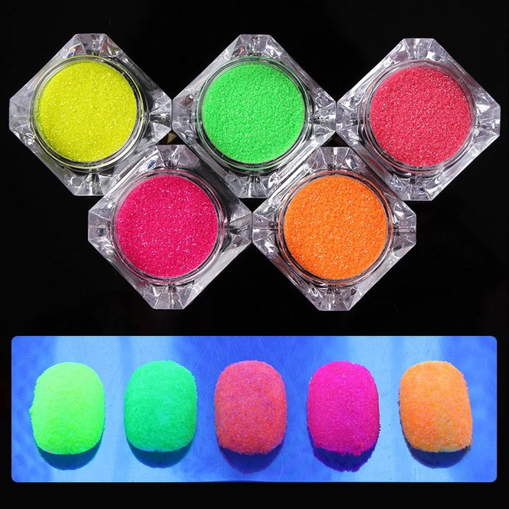 Neon Phosphor Fluorescent Nail Glitter Powder - 5 Colors
