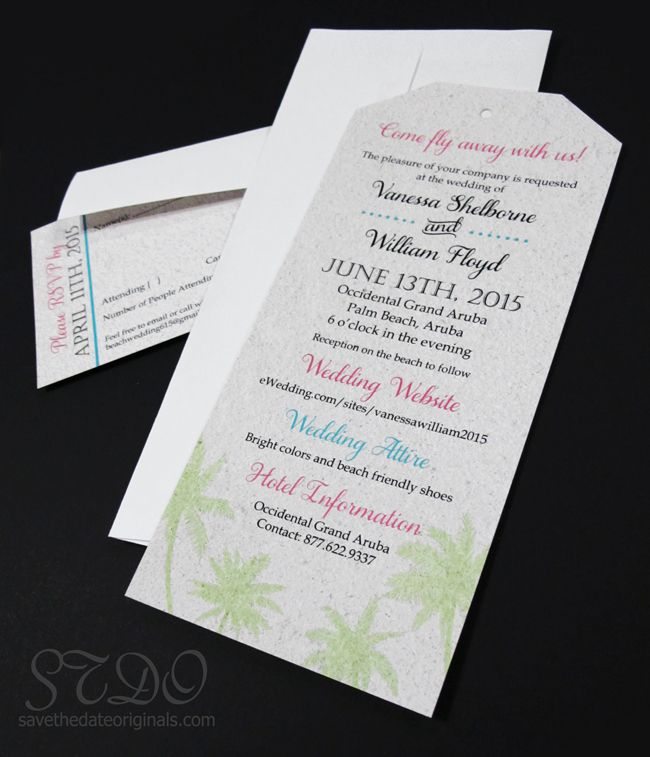 sample of wedding invitation letter%0A Fairly simple luggage tag wedding invitation for those destination weddings