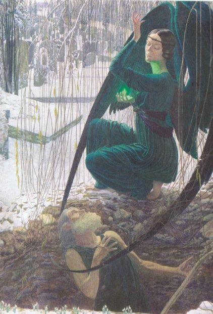 "Carlos Schwabe, La mort du fossoyeur, 1895+1900 / Expo ""Archives du rêve"", Orangerie 2014"