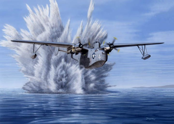"""""""P-Boat: One, U-Boat: Nothing"""" - Martin Mariner illustration by Don Feight"""